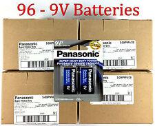 96 Wholesale 9V Panasonic 9 Volts Batteries Battery Super Heavy Duty Lot