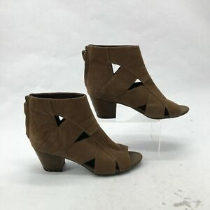 Franco Sarto Rocker Cut Out Peep Toe Zip Ankle Boots Womens 8M Brown Leather