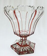 Antique  GLASS COMPOTE RUBY AND CLEAR CUT TAZ french cut