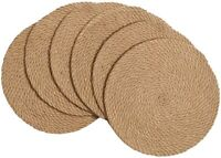 """Set of 6 Handmade Thick Heat Resistant Natural Jute Woven Braided Placemats 14"""""""