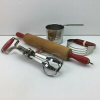 Vtg Red Kitchen Utensils Flour Sifter Rolling Pin Egg Beater Pastry Cutter Metal