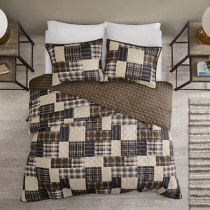CLASSIC COZY PLAID BROWN COUNTRY WESTERN RUSTIC BLUE LOG CABIN LODGE QUILT SET