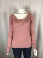 Lacoste Womens Sweater Size 38 6 Medium Cable Knit Pink Scoop Neck Long Sleeve