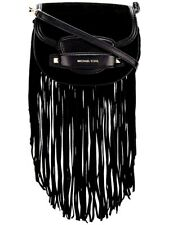 Michael Kors Shoulder Bag Sm Saddle Crossbody Fringes Black New