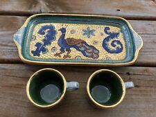 "Deruta Pottery Mosaic Italian Majolica Ceramic Pottery Plate 11""x 5"" & 2 Cups"