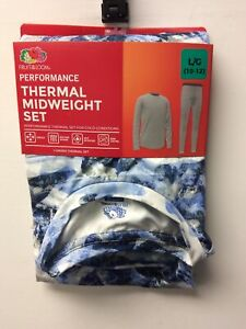 Fruit of the Loom Boys Thermal Midweight Underwear Set Blue/White Large (10-12)