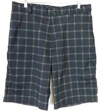 Nike Men's Size 34 Golf Shorts Flat Front Black White Plaid