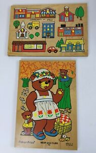 Lot 2 VINTAGE 1971 Fisher Price Wooden Knob Puzzles BEAR CUBS COMMUNITY 502 506