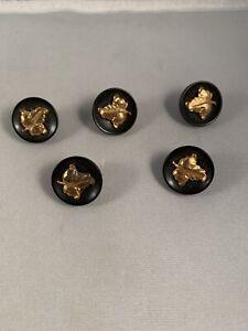 Vintage Oak Ivy Leaf Lot Set Of 5 Black Gold Victorian Vintage Buttons Antique
