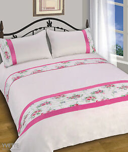 New Luxury Soft Pink Floral Duvet Set Quilt Cover Bedding Single Double King