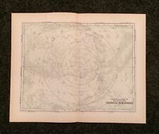 Vintage Original Map 1897 Constellations of the Southern Celestial Hemisphere