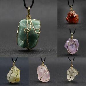 Natural Gemstones Crystal Quartz Necklace Pendant Chakra Healing Stone w/ Chain