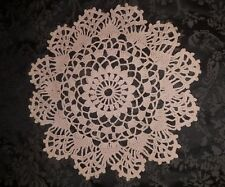 Handmade Vintage Beige Crocheted Doilie. 36cm. Beautifully detailed.