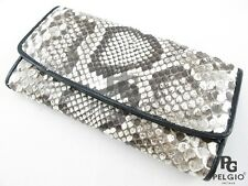 PELGIO Genuine Python Snake Skin Leather Trifold Clutch Wallet Purse Natural New