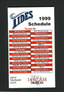 Norfolk Tides--1999 Pocket Schedule--Mets Affiliate