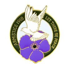 WW1 1914-1918 PURPLE POPPY ANIMALS AT WAR DOVE OF PEACE REMEMBRANCE ENAMEL BADGE