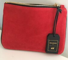 BALMAIN Paris H&M Clutch Bag Tasche Leder Leather Rot Red