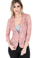 Salt Tree Women's Single Breasted Ruched 3/4 Sleeves Lace Blazer Top