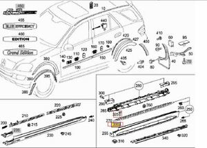 Mercedes ML W164 GL X164 side skirt step running board CLIPS and BOLTS set 10pcs