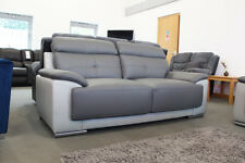 Linden 3 2 Seater Two Tone Dark Grey Leather Sofas Clearance Brand New