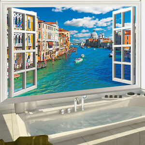 DIY False Window Landscape Urban River Art Sticker Bedroom Home Decor Vinyl Wall