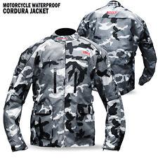75bb73f05aa New Mens Motorcycle Waterproof Cordura Textile Jacket Motorbike Camo Hiviz  Green