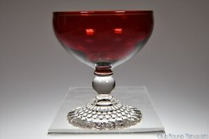 """1941 - 65 BUBBLE FOOT by Anchor Hocking ROYAL RUBY 4"""" Champagne / Tall Sherbet"""