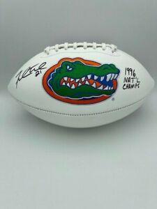 Fred Taylor Signed Florida Gators 96 NAT'L Champs White Panel Football COA Holo