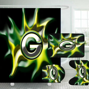 Green Bay Packers Bathroom Rugs 4PCS Shower Curtain Toilet Lid Cover Room Decor