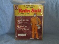 RAIN SUIT for Sports or Work; 3 Piece Vinyl Zippered; BRAND NEW; Size is Large