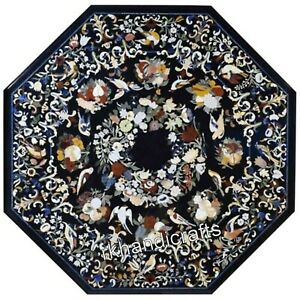 48 Inches Marble Meeting Table Top Gemstones Work Dining Table Hand Crafted