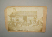 Rare Antique Vtg 19th C 1860s Morman Family Log Cabin Utah Cabinet Card Photo
