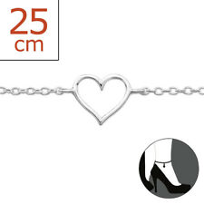 TJS 925 Sterling Silver Anklet Hollow Out Love Heart 22cm Expandable to 25cm