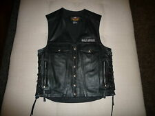 Authentic Harley Davidson Men's Black Genuine Leather Vest Jacket ~ Small ~ NEW