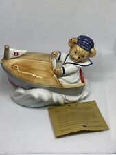 VINTAGE OTAGIRI OVER THE WAVES Teddy Bear In Boat Music Box Figurine. 1980s