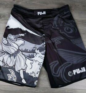 FUJI Competition Fight Board Shorts Samurai Design - Black White Size 42 EUC