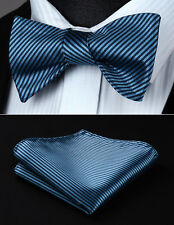 BS603BS  Navy Blue Stripe Bowtie Men Silk Self Bow Tie handkerchief set