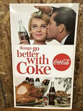 """VERY RARE 1960'S COCA-COLA """"Things Go Better With Coke"""" CARDBOARD HOLIDAY SIGN"""