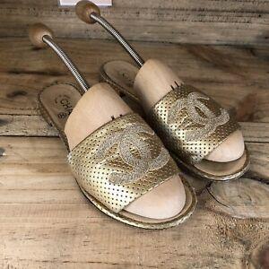 Chanel Genuine Ladies Gold Leather CC Summer Slides Sandals Size 38.5 UK 5.5