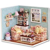 DIY Dolls house Miniature Kit w/ Cover /LED Light/Dollhouse&furniture Birthday