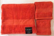 RALPH LAUREN WESTLAKE 3 PC SET BURNT ORANGE BOW,RUST BATH+HAND+WASH CLOTH TOWEL
