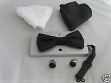 BLACK Polyester Mens Bow Tie + Cuff-links + 2 Hankies Set > P&P 2UK>1st Class