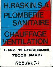 Autocollant sticker H. RASKIN plomberie Chauffage bâtiment rue de Chevreuse