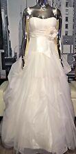 David's Bridal Galina WG3057 Ivory Swarovski Center Bow Princess Wedding Gown 6