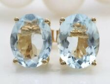 3.10 Carat Natural Aquamarine in 14K Solid Yellow Gold Stud Earrings