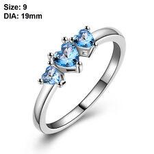 Elegant Women Blue Zircon Silver Plated Love Heart Ring Bridal Wedding Jewelry O 9