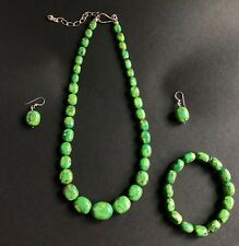 Jay King DTR Silver Green Turquoise ? Beaded Necklace Bracelet and Earrings Set