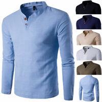 Fashion Men's Stylish Long Sleeve Shirt V-neck Casual Slim Tee Shirt