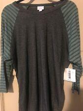 NWT Womens Lularoe Dark Gray Solid Shirt 2XL Green Striped Sleeves Plus 2X