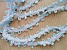 5Y~15mm~ Satin Cord Trimming Flower Design DIY Doll Dress Blue White